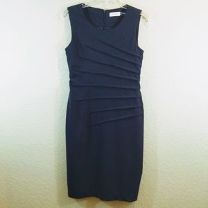 Calvin Klein 2 Navy Sleeveless Knit Fitted Dress